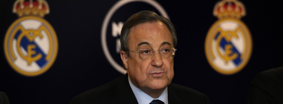 Florentino, durante el acto en el Bernabéu.