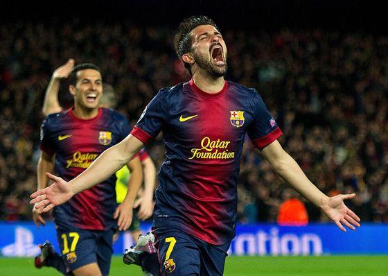 Villa celebra su gol al Milan