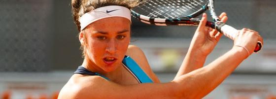 Sara Sorribes, durante un partido del Masters de Madrid.