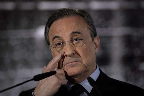 Florentino Pérez, durante la rueda de prensa del lunes.