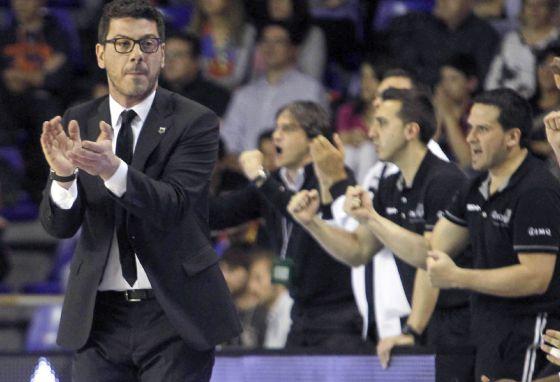 Fotis Katsikaris, en su último partido de playoff contra el Barcelona.