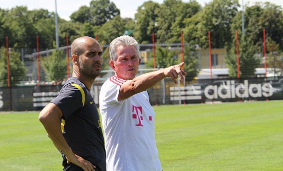 Heynckes y Guardiola en las instalaciones del Bayern en Julio de 2011