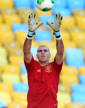 Valdés, durante un entrenamiento con la selección española.