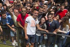 Iago Aspas en su despedida de los aficionados del Celta de Vigo.