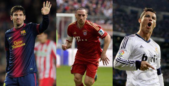 Messi, Cristiano Ronaldo y Ribéry se disputan ser el mejor jugador europeo