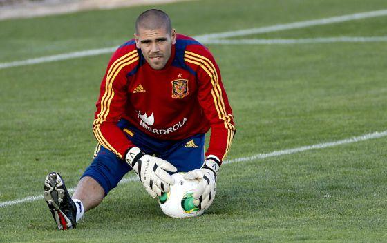 Valdés, en un entrenamiento con la selección.