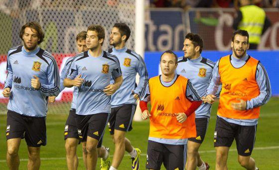 Los jugadores de la selección, en un entrenamiento en Albacete esta semana.
