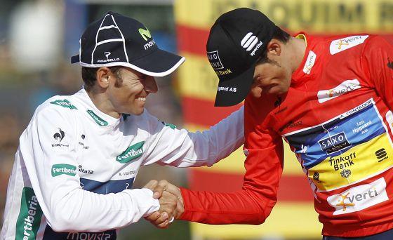 Alejandro Valverde y Alberto Contador tras la última etapa de la Vuelta de 2012