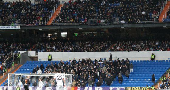 La grada que habitualmente ocupan los miembros de Ultras Sur en el Bernabéu en el partido del sábado contra el Valladolid.