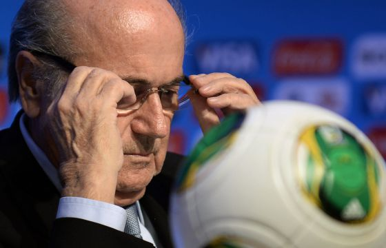 Blatter, presidente de la FIFA, en la rueda de prensa.