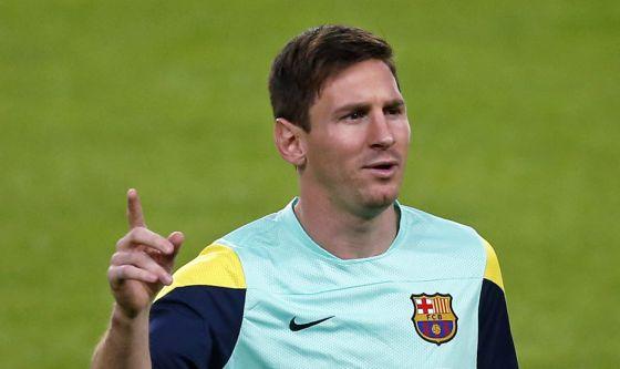 Messi, en un entrenamiento con el Barça