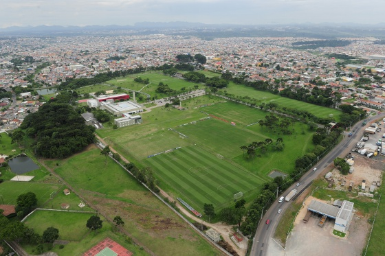 Vista aérea del Centro de Treinamento do Caju en Curitiba.