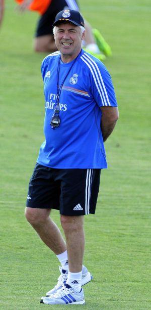 Ancelotti, durante un entrenamiento