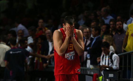 Marc Gasol se lamenta durante el partido.