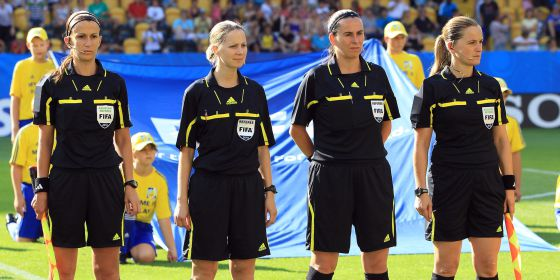Yolanda Parga, Florence Guillemin, Dagmar Dankova y María Luisa Villa, en el Mundial femenino de 2010 en Alemania.