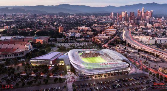 Recriação do futuro estádio de futebol de Los Angeles.