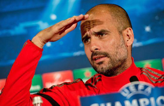 Pep Guardiola en una rueda de prensa de la Liga de Campeones.