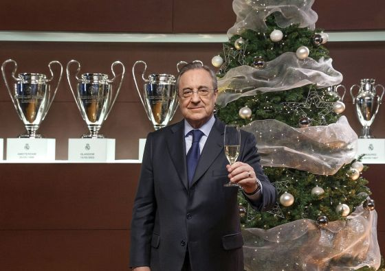 Florentino felicita las fiestas al madridismo.