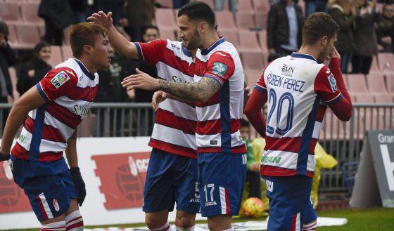 Peñaranda celebra su golazo ante el Sevilla.