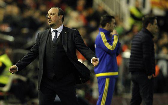 Benítez, durante el Valencia-Real Madrid celebrado en Mestalla.