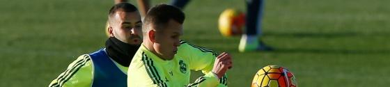Jesé y Cheryshev, durante un entrenamiento del Madrid.