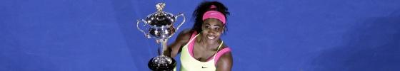 Serena posa con el título del Abierto de Australia 2014.