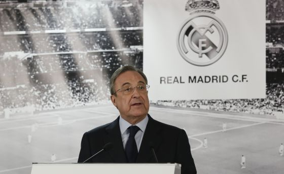 Florentino Pérez en la comparecencia del lunes para destituir a Rafa Benitez como entrenador del Real Madrid
