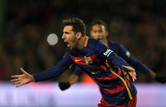 Messi celebra su gol en el Barcelona Espanyol
