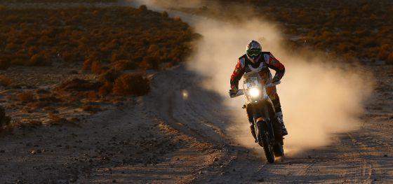 Antoine Meo, durante la sexta etapa del Dakar