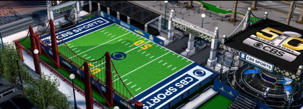 Recreación de la zona dedicada a los fans en la Super Bowl