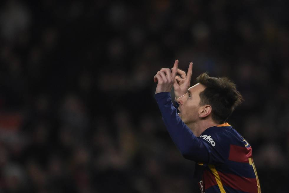 Messi celebra su gol ante el Athletic.