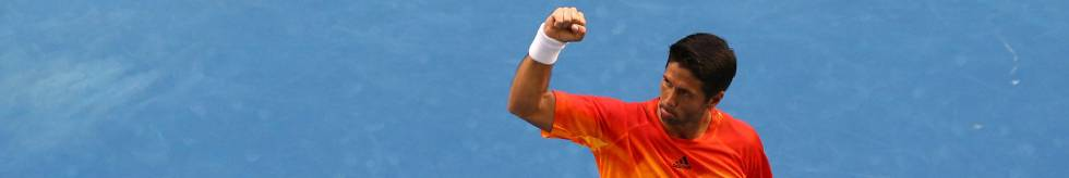 Verdasco celebra su triunfo contra Nadal en Melbourne.