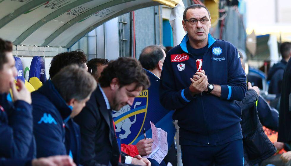 Maurizio Sarri durante el partido de liga contra el Frosinone.