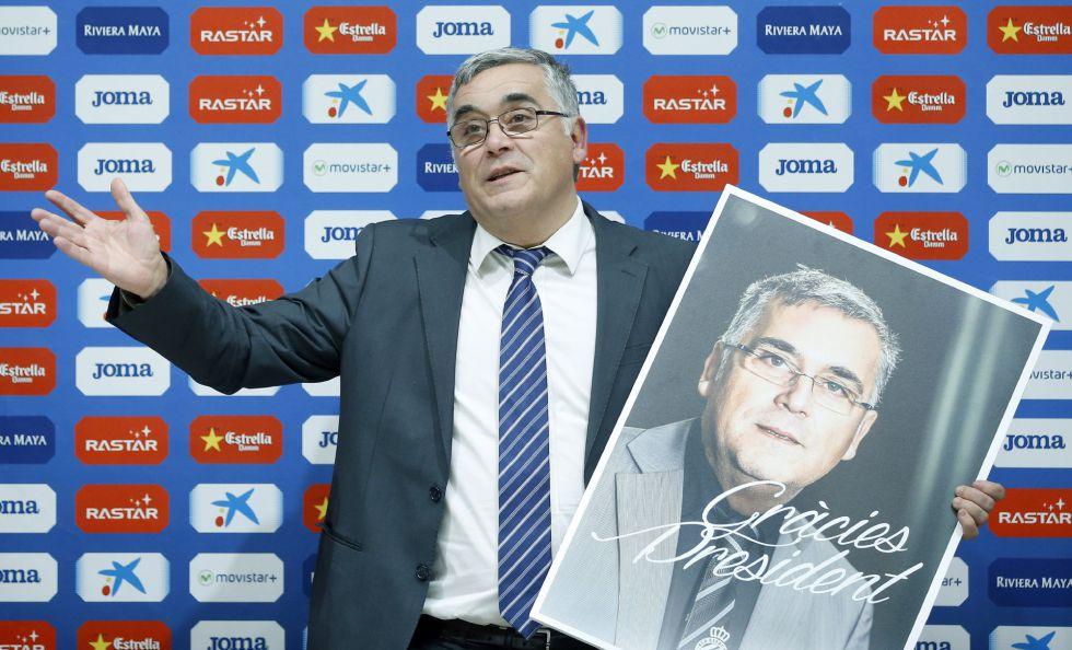 El hasta hoy presidente del Espanyol, Joan Collet, en la conferencia de prensa de su adiós.