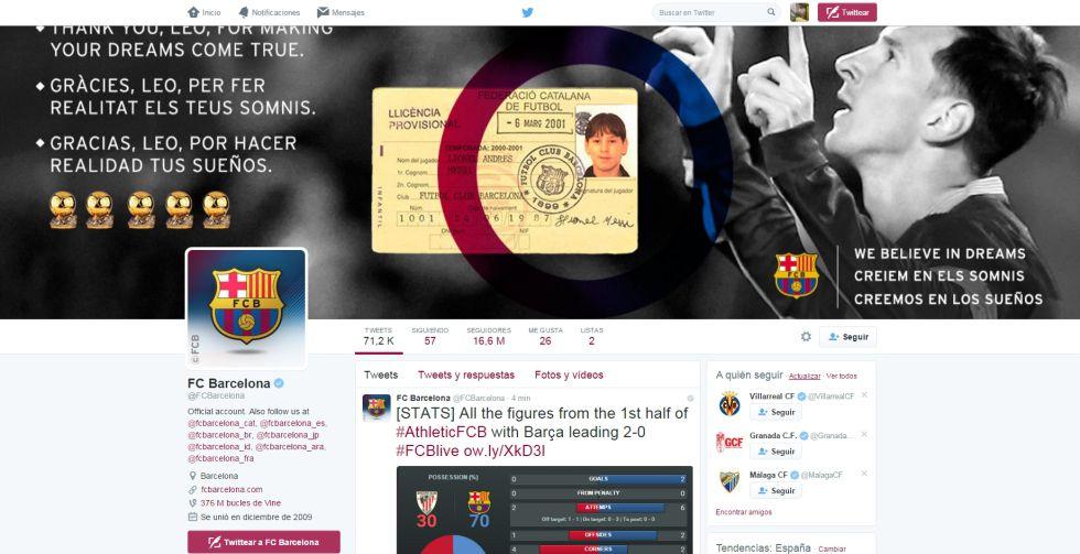 Captura de la cuenta de Twitter, en inglés, del FC Barcelona, con 16.6 millones de seguidores.
