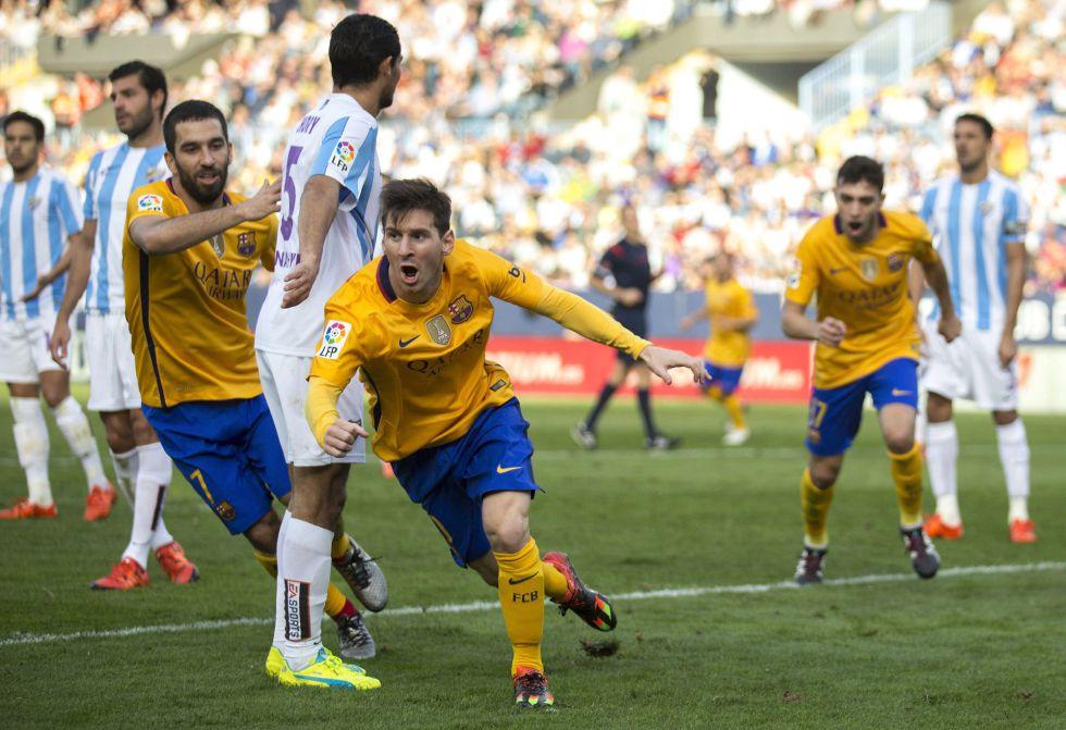 Messi celebra el segundo gol del Barça.