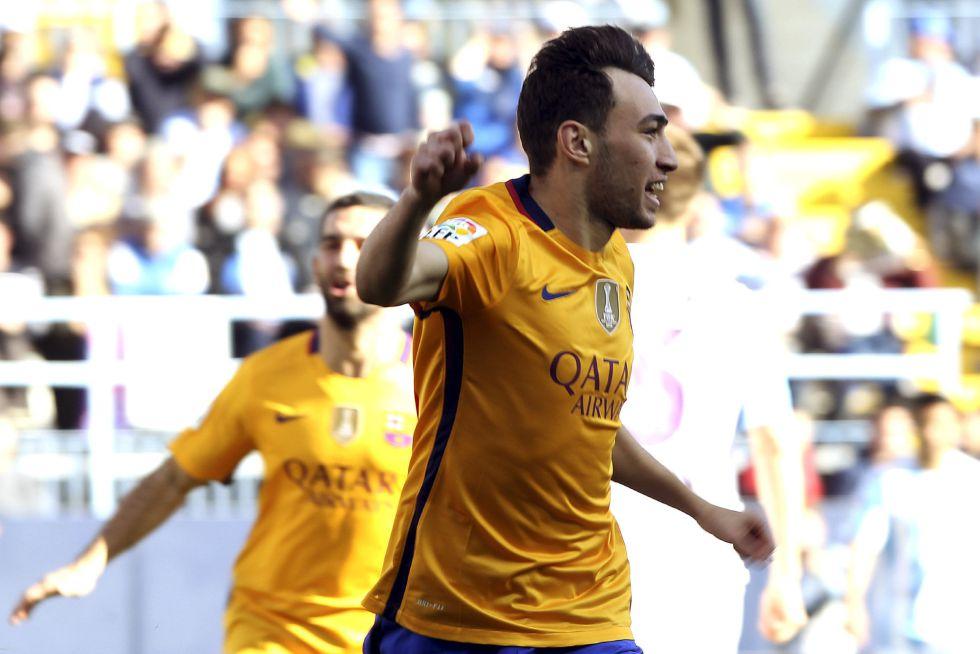 Munir festeja su primer gol en la Liga.