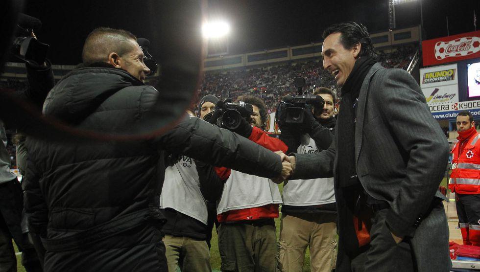 Simeone y Emery, en un Atlético-Valencia de 2012.