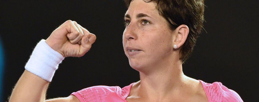 Carla Suárez celebra su triunfo ante Gavrilova.