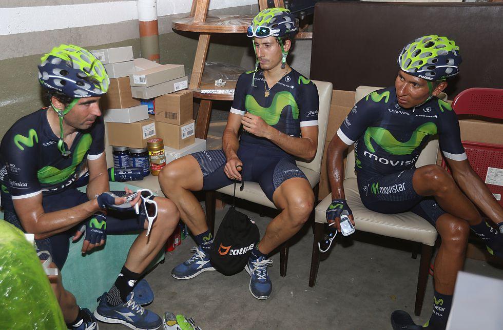 Ventoso, Malori y Nairo Quintana, de izquierda a derecha, en Argentina, antes del Tour de San Luis.