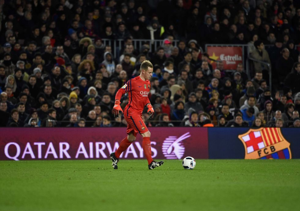 Ter Stegen durante un partido en el Camp Nou