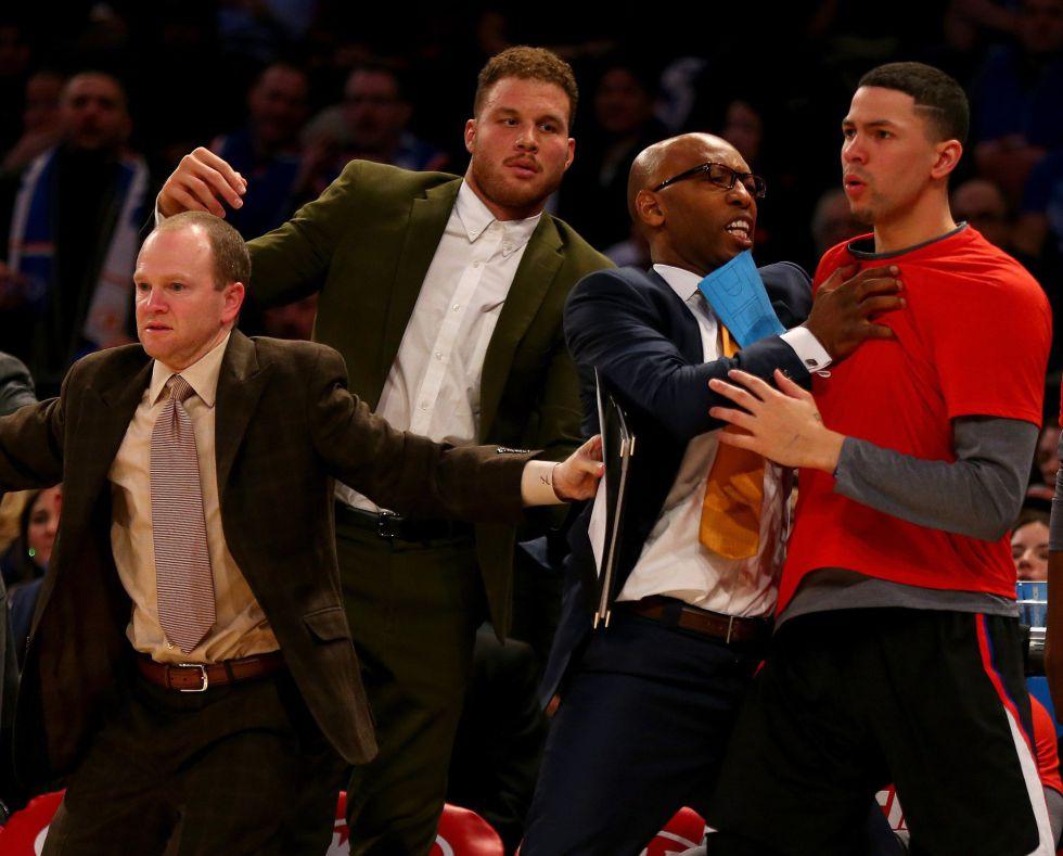 Griffin, en el centro, el viernes durante un partido Knicks-Clippers.