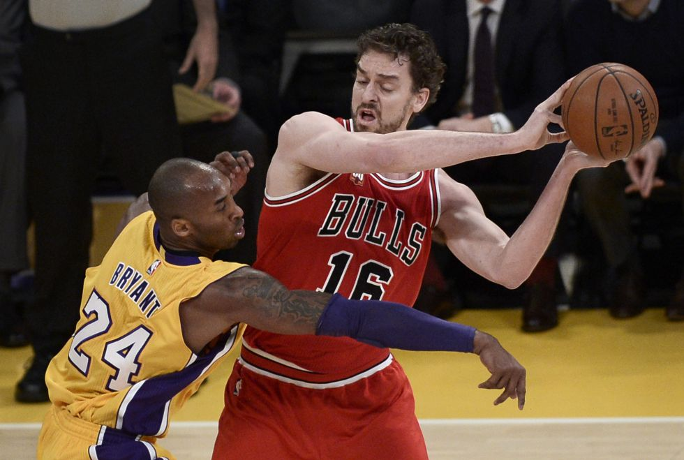 Pau Gasol y Kobe Bryant en el último Bulls-Lakers.