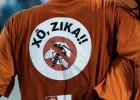 Trabajadores de la limpieza de Río desfilan por el Sambódromo con mensajes contra el Zika el Martes de Carnaval.