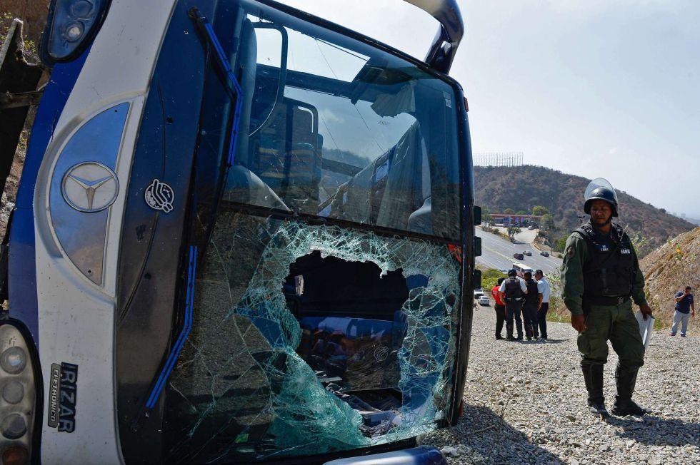 El autobús de Huracán vuelca en Venezuela