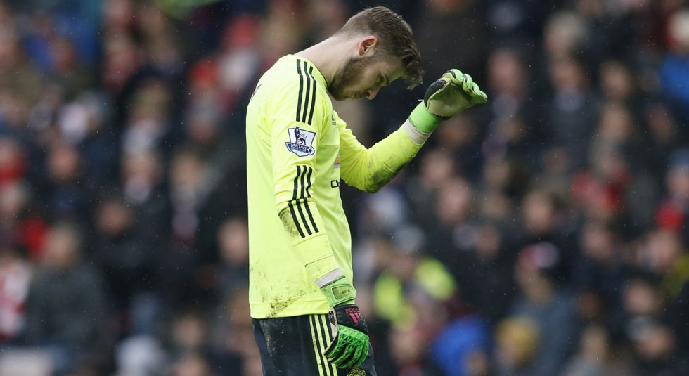 David De Gea se lamenta tras la derrota en el Stadium of light.