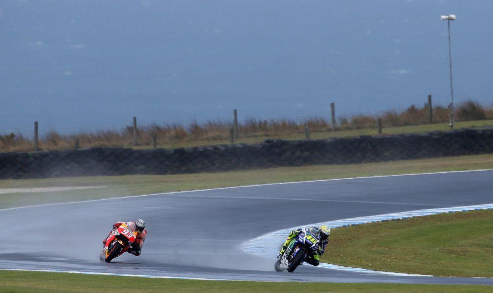 Márquez y Rossi, en los tests en Phillip Island.