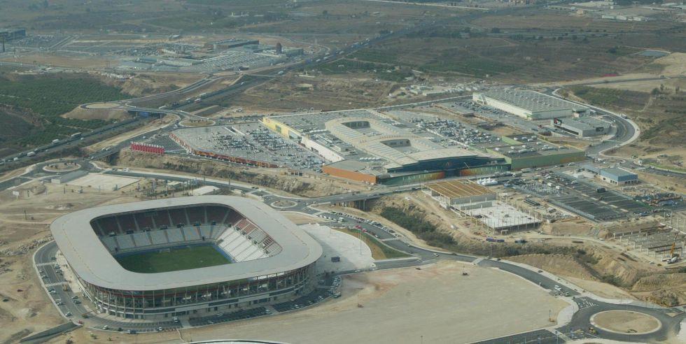 Vista aérea del estadio Nueva Condomina en Murcia.