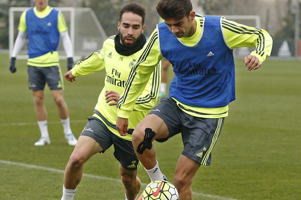Enzo Zidane, durante el entrenamiento de este miércoles.