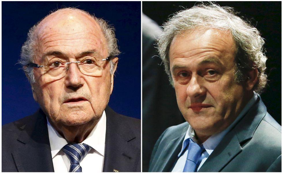 Blatter, expresidente de la FIFA, y Platini, de la UEFA.